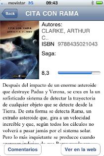 BiblioEteca en iPhone. Vista de libro